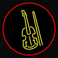 Yellow Violin Logo Red Border Enseigne Néon