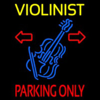 Yellow Violinist Red Parking Only Enseigne Néon