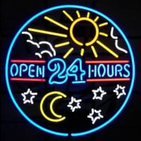 open 24 hours sun moon day BEER BAR PUB Enseigne Néon